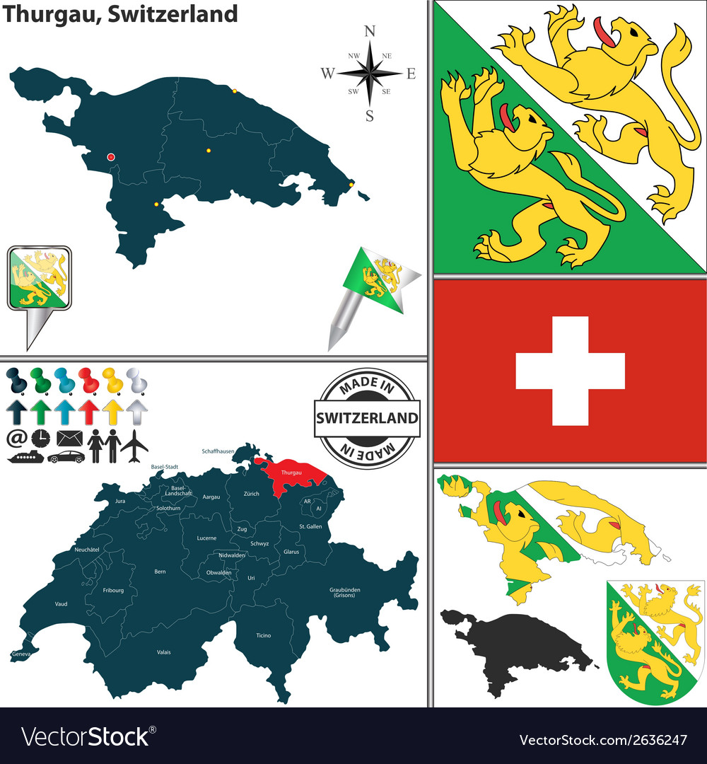 Map of thurgau vector | Price: 1 Credit (USD $1)