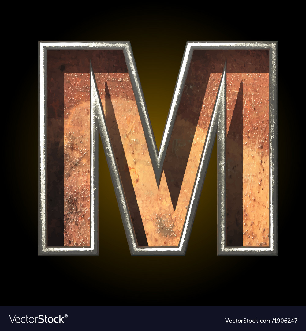 Old metal letter m vector | Price: 1 Credit (USD $1)
