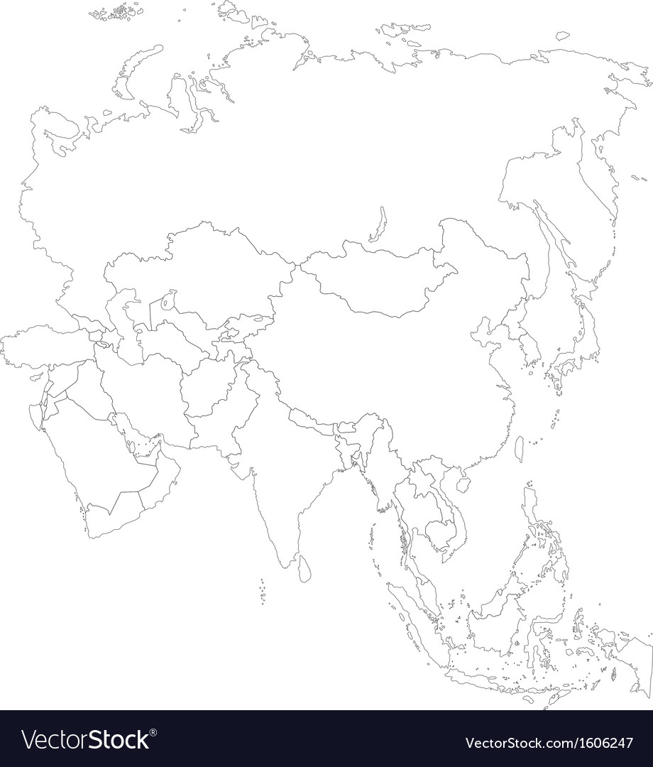 Outline asia map vector | Price: 1 Credit (USD $1)