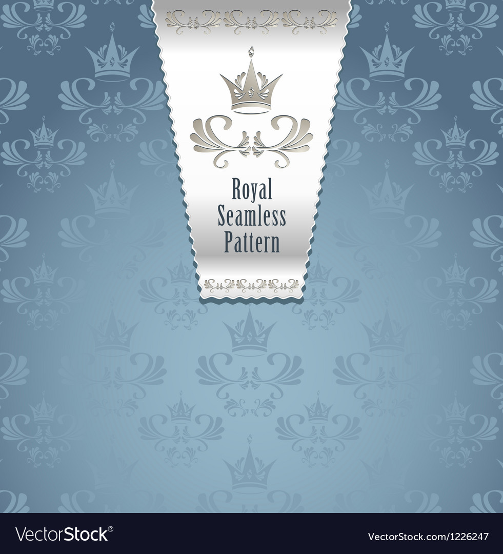 Royal seamless pattern with crown or royal blue ba vector | Price: 1 Credit (USD $1)