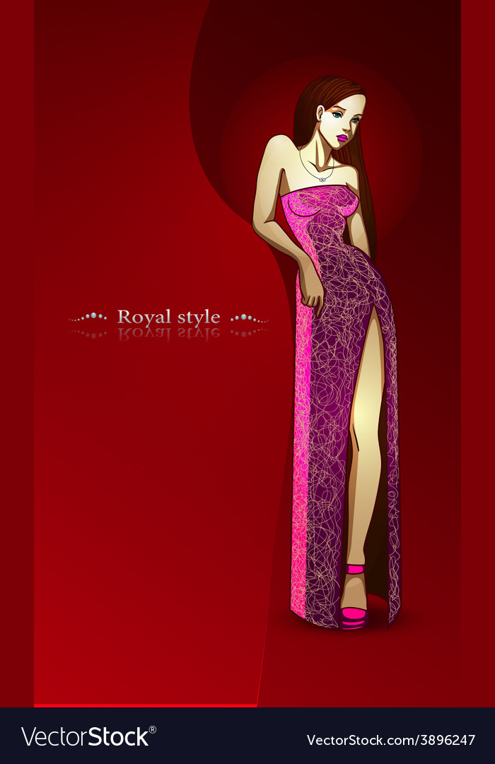 Royal style beautiful girl in pink long dress vector | Price: 1 Credit (USD $1)