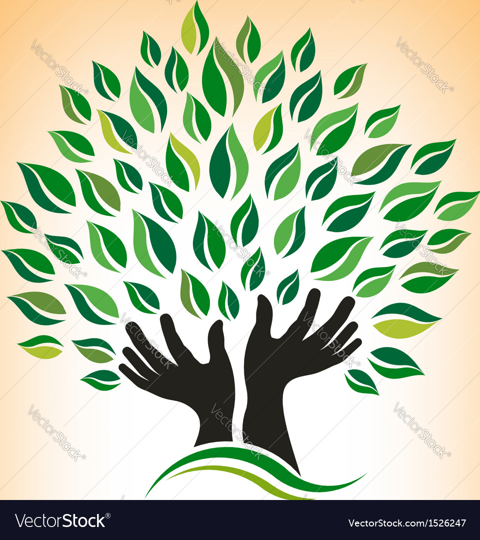 Supporting hand tree logo vector | Price: 1 Credit (USD $1)