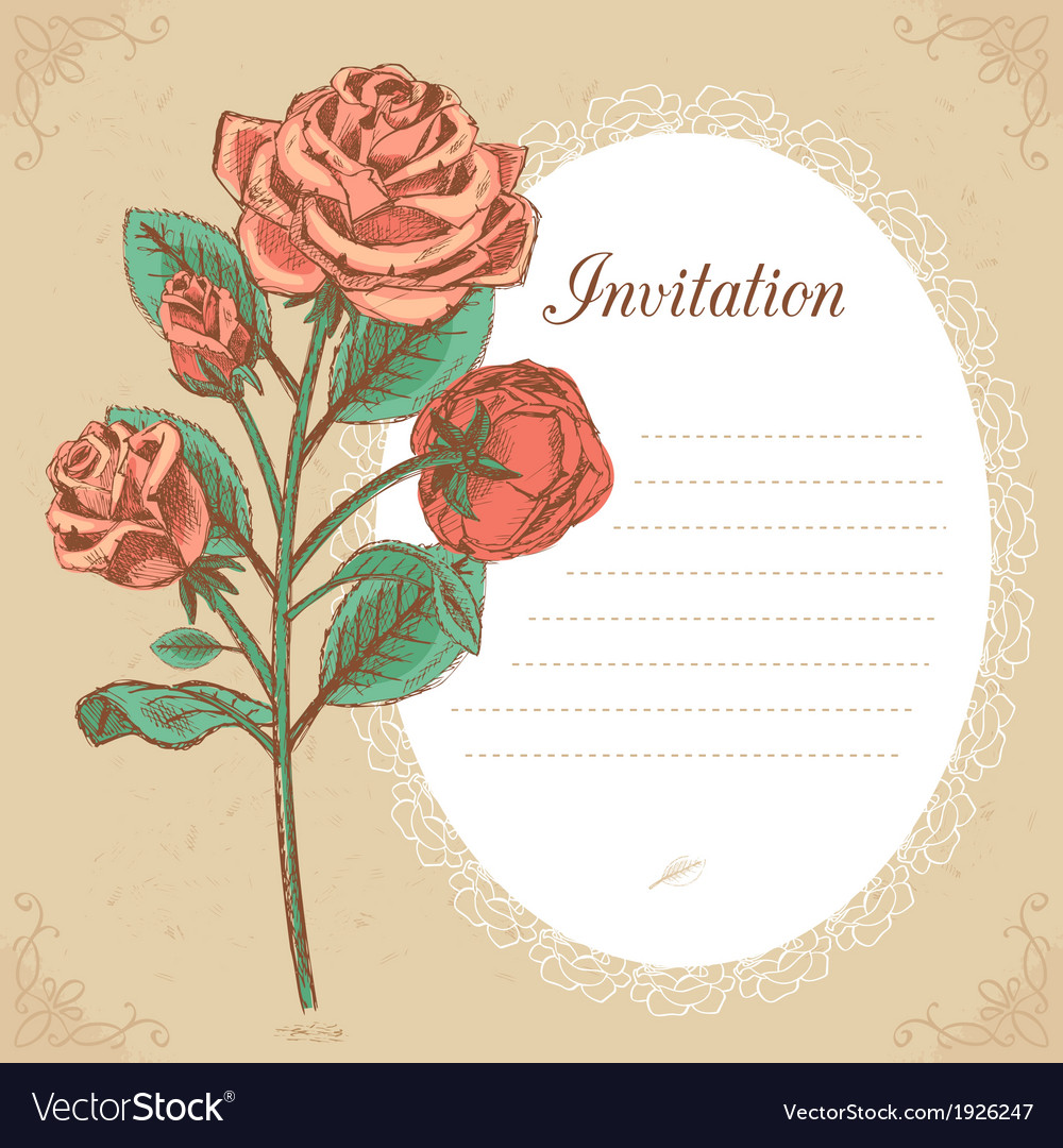Vintage invitation card with red rose vector | Price: 1 Credit (USD $1)