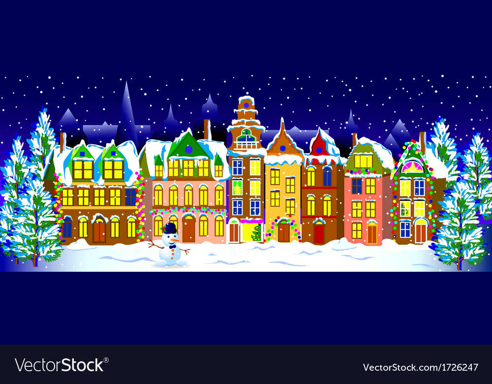 Winter night in the old town vector | Price: 1 Credit (USD $1)