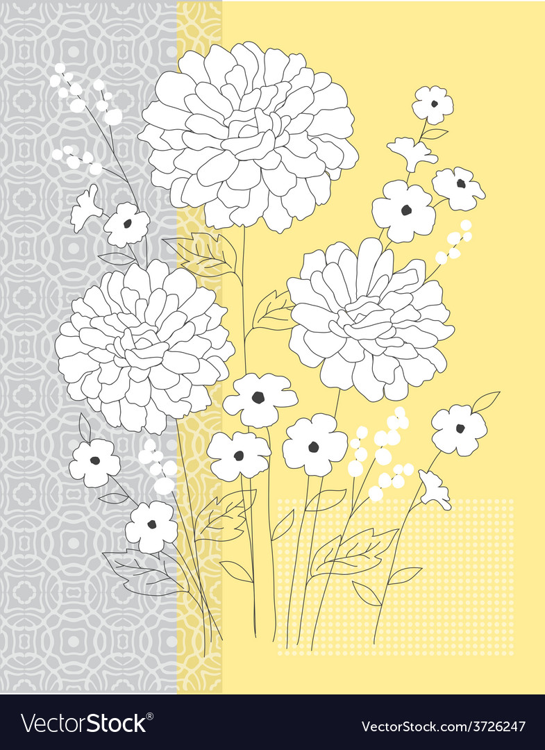 Yellow grey floral vector | Price: 1 Credit (USD $1)