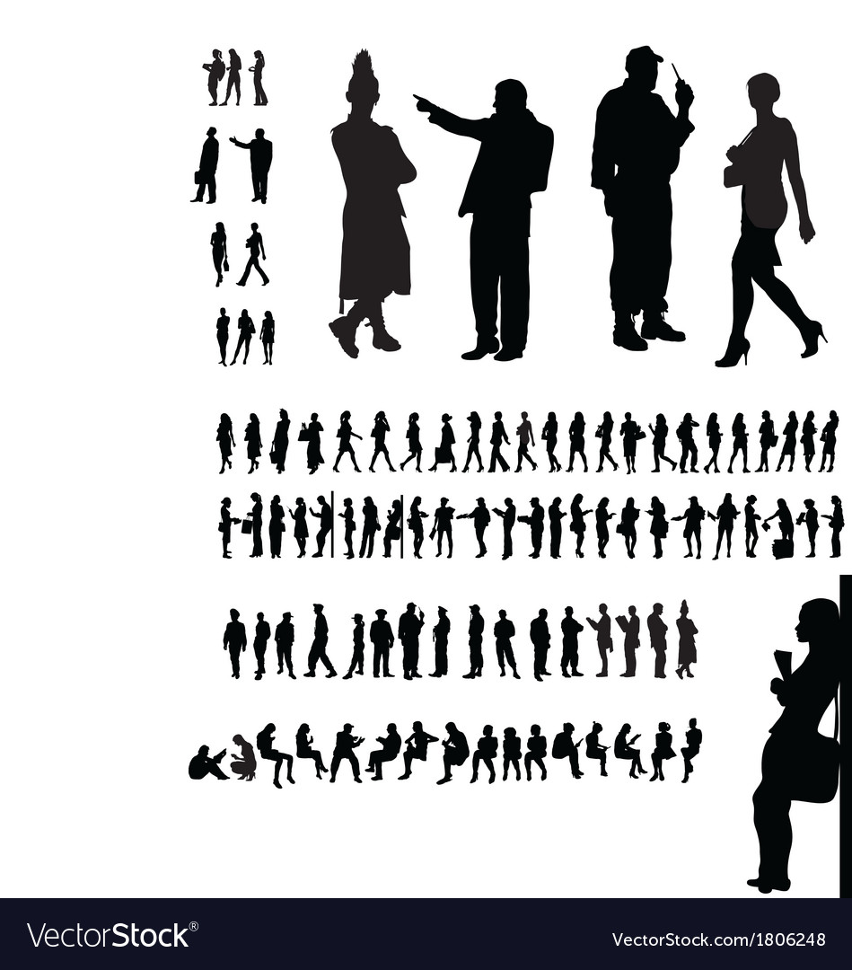 Adult people silhouettes collection vector | Price: 1 Credit (USD $1)