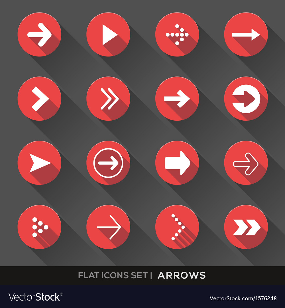 Arrow sign flat icons set vector | Price: 1 Credit (USD $1)