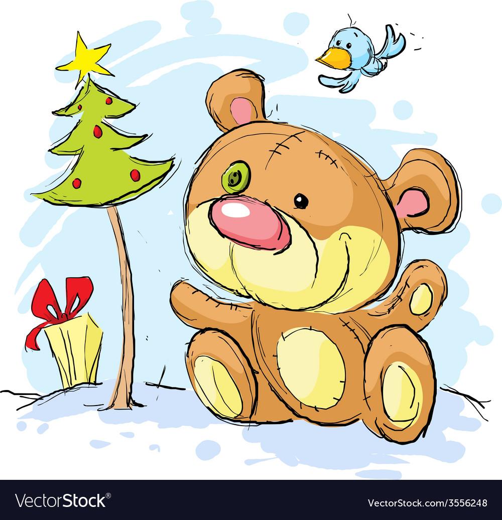 Christmas postcard with bear and christmas tree vector | Price: 1 Credit (USD $1)