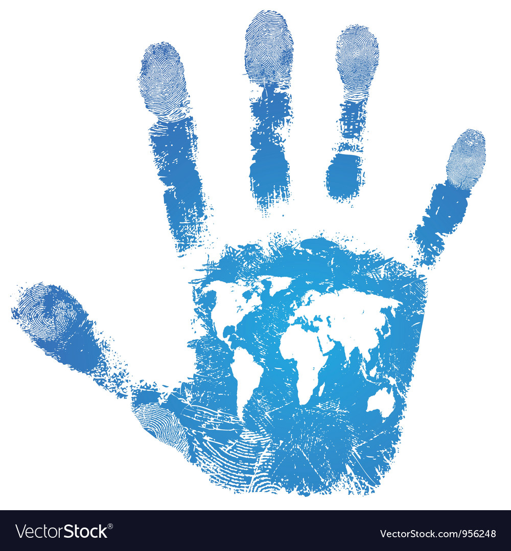 Hand world map print sign people support vector