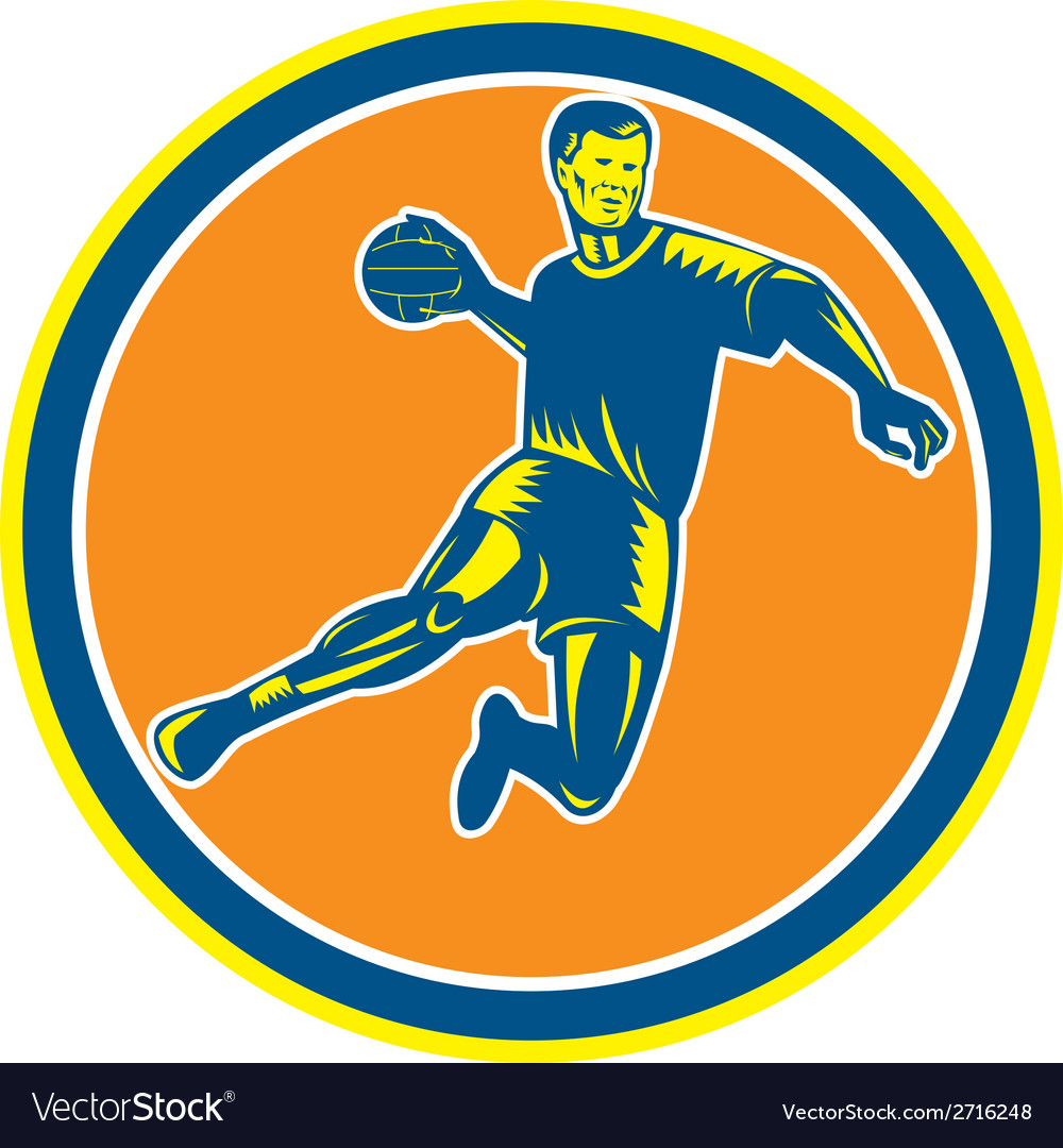 Handball player jumping throwing ball circle vector | Price: 1 Credit (USD $1)
