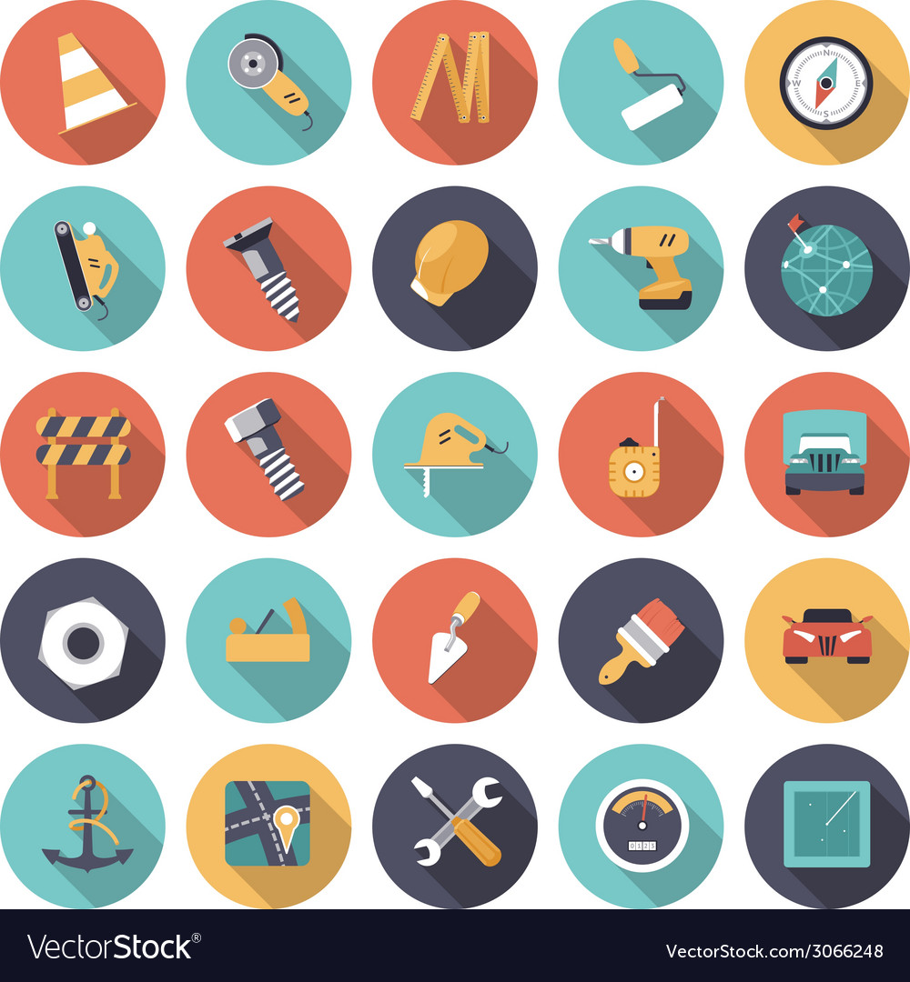 Icons flat colors industrial vector | Price: 1 Credit (USD $1)