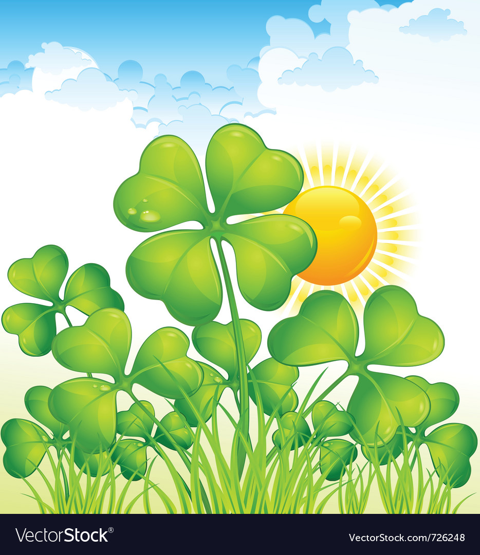 Landscape with four leaf clovers vector | Price: 3 Credit (USD $3)