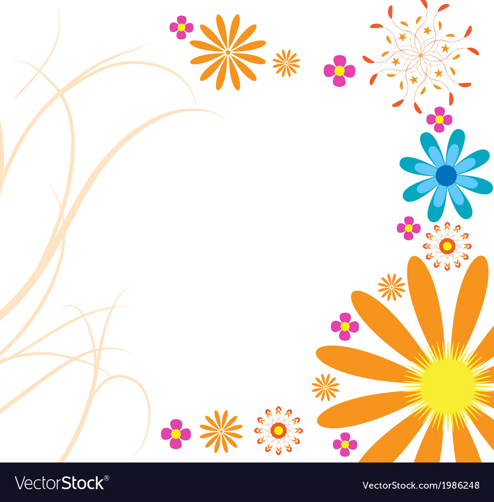 Mod flowers hot orange vector | Price: 1 Credit (USD $1)