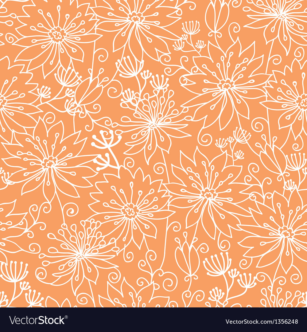 Orange and white lineart flowers seamless pattern vector | Price: 1 Credit (USD $1)