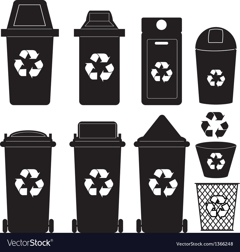 Recycle bin silhouette vector | Price: 1 Credit (USD $1)