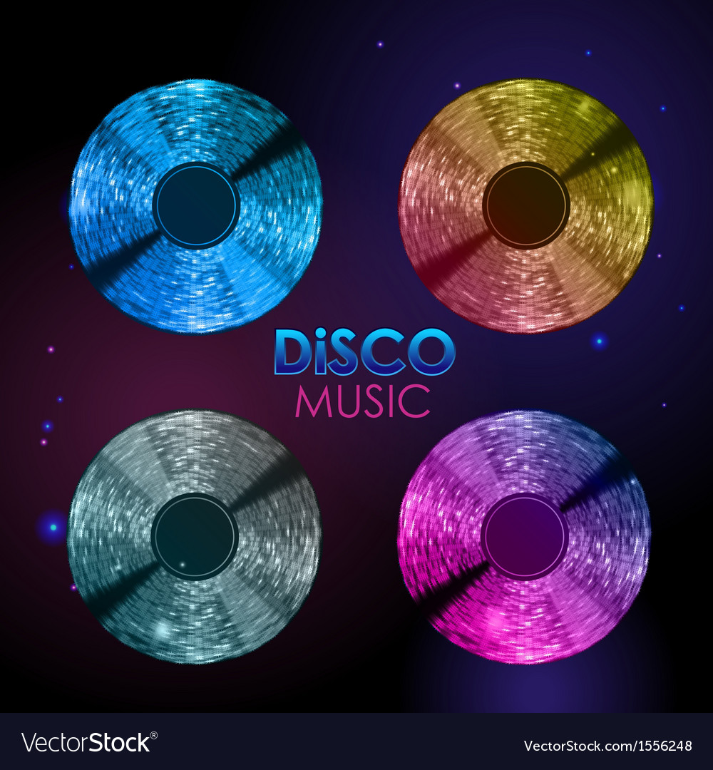 Set of neon disco records vector | Price: 1 Credit (USD $1)