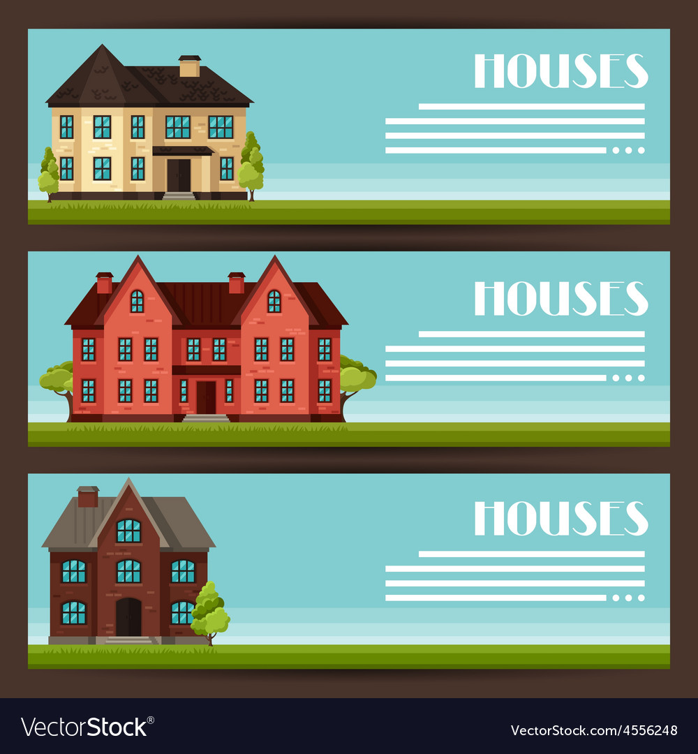 Town horizontal banners design with cottages and vector | Price: 1 Credit (USD $1)