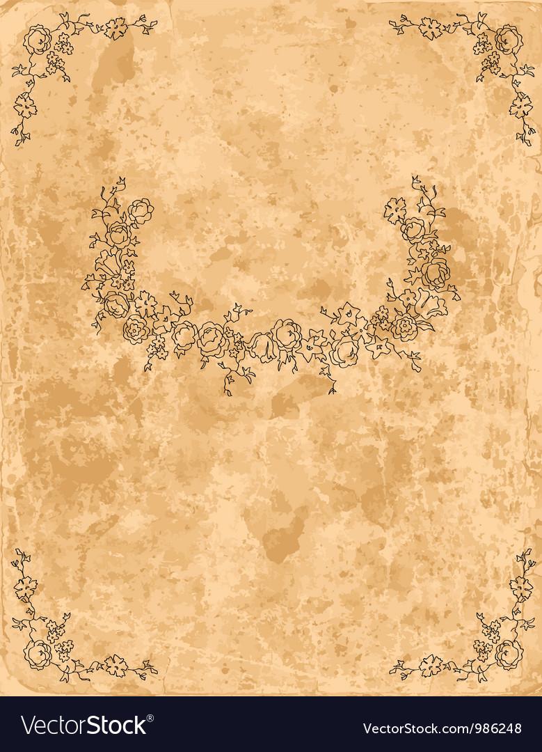 Vintage floral frame on old paper sheet vector | Price: 1 Credit (USD $1)