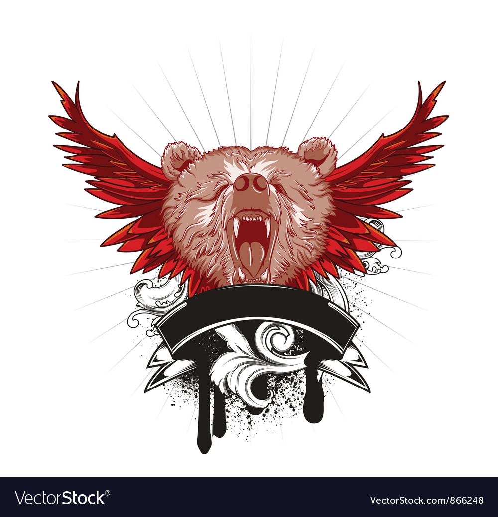 Vintage t-shirt design with bear vector | Price: 1 Credit (USD $1)