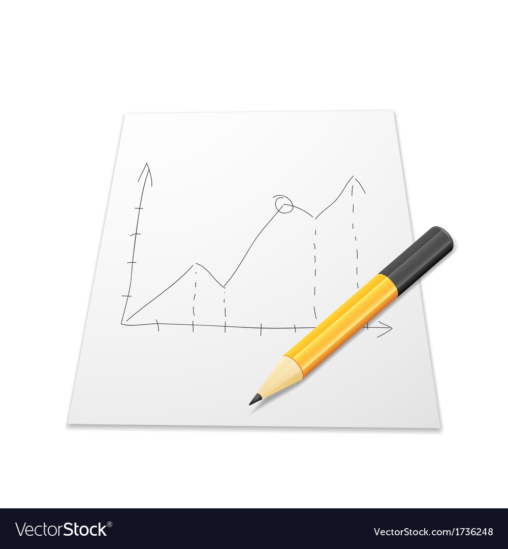 White paper with graph and pencil vector | Price: 1 Credit (USD $1)