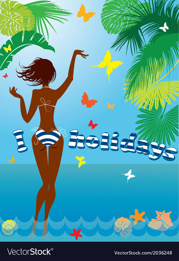 Woman silhouette in bikini swimwear vector | Price: 1 Credit (USD $1)