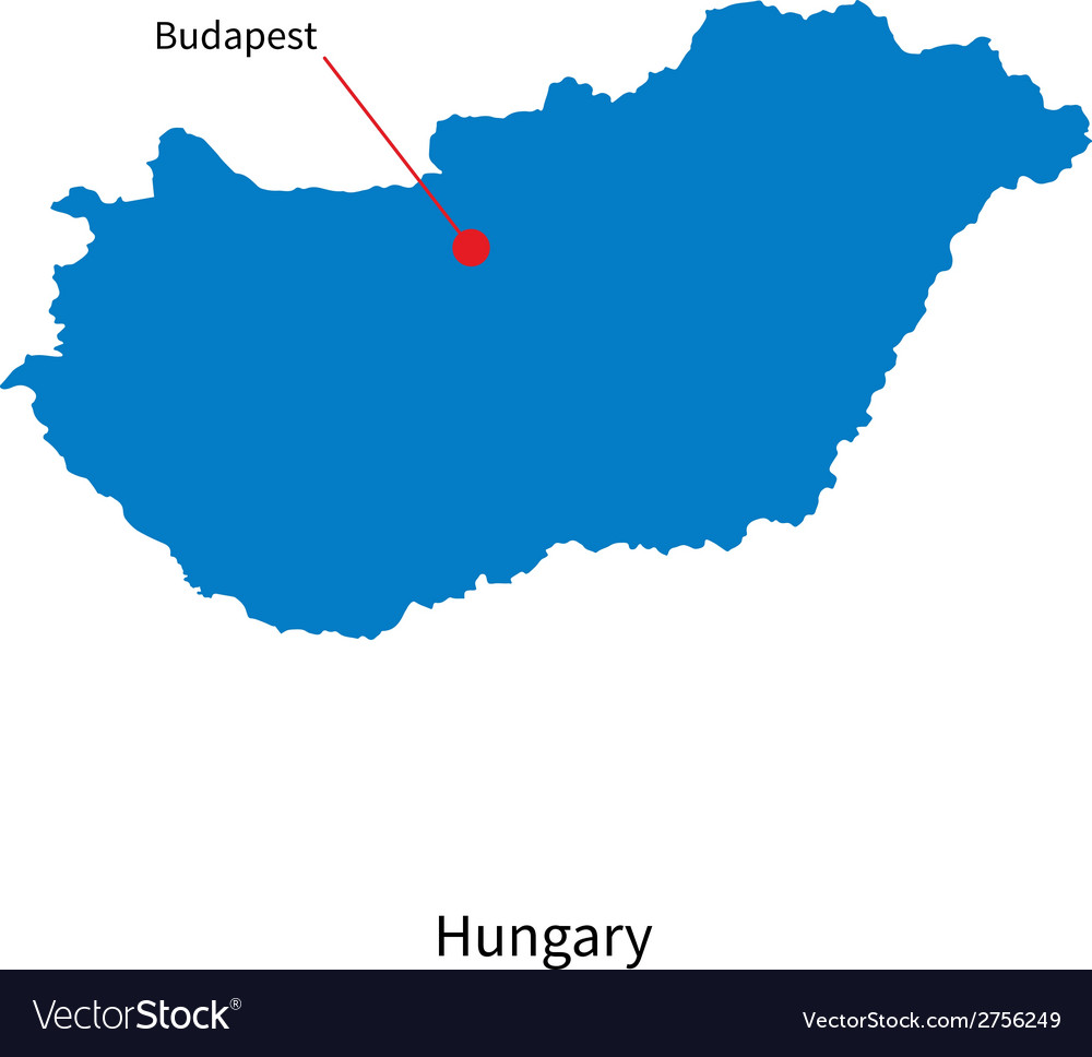 Detailed map of hungary and capital city budapest vector | Price: 1 Credit (USD $1)