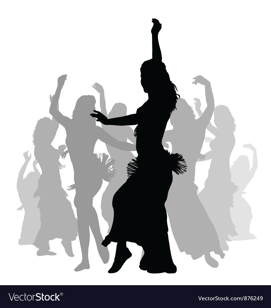 East woman dancers silhouette vector | Price: 1 Credit (USD $1)