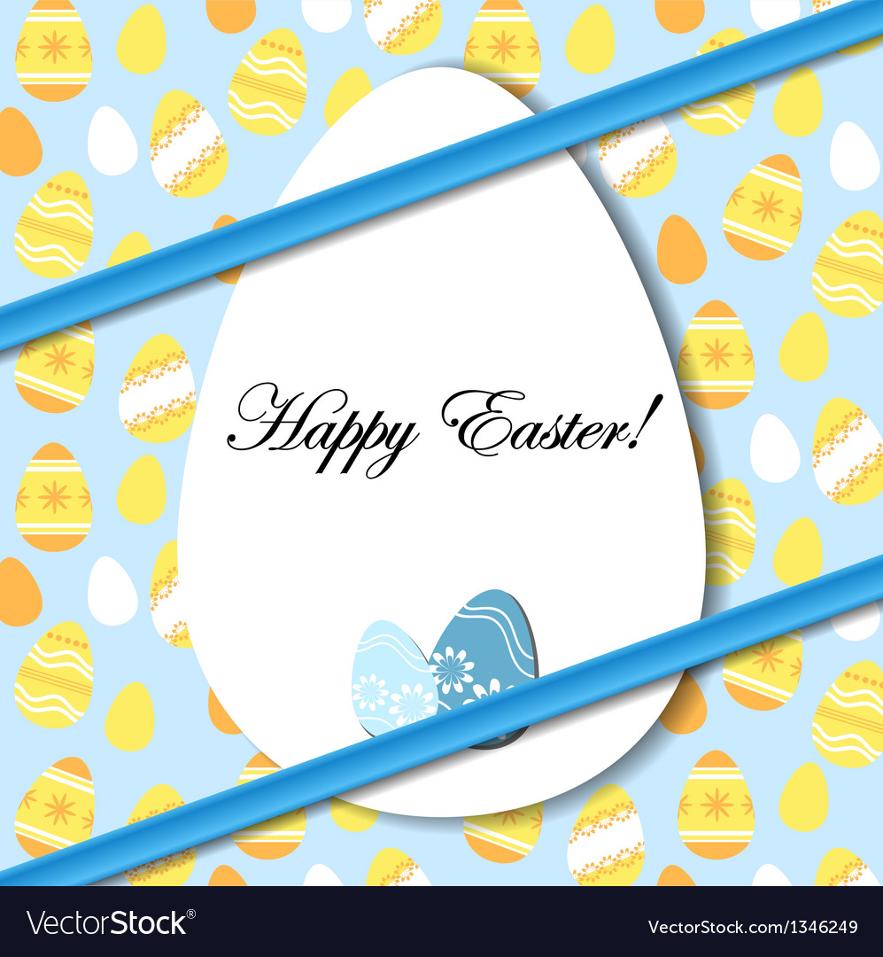 Easter card with egg and blue bow vector | Price: 1 Credit (USD $1)
