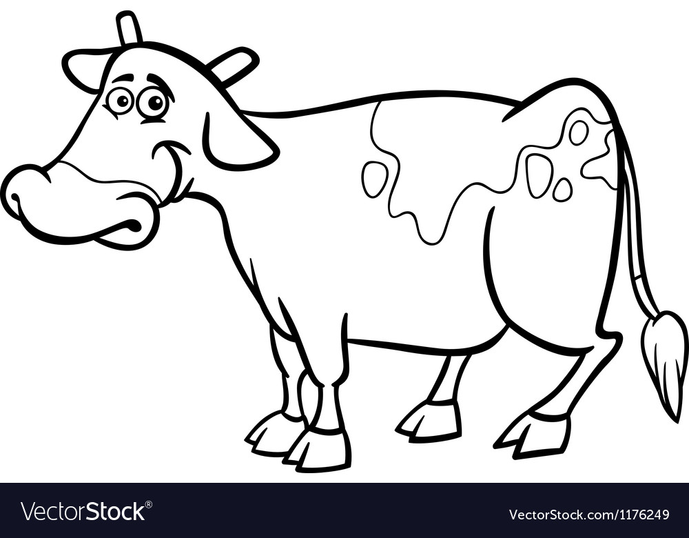 Farm cow cartoon for coloring book vector | Price: 1 Credit (USD $1)