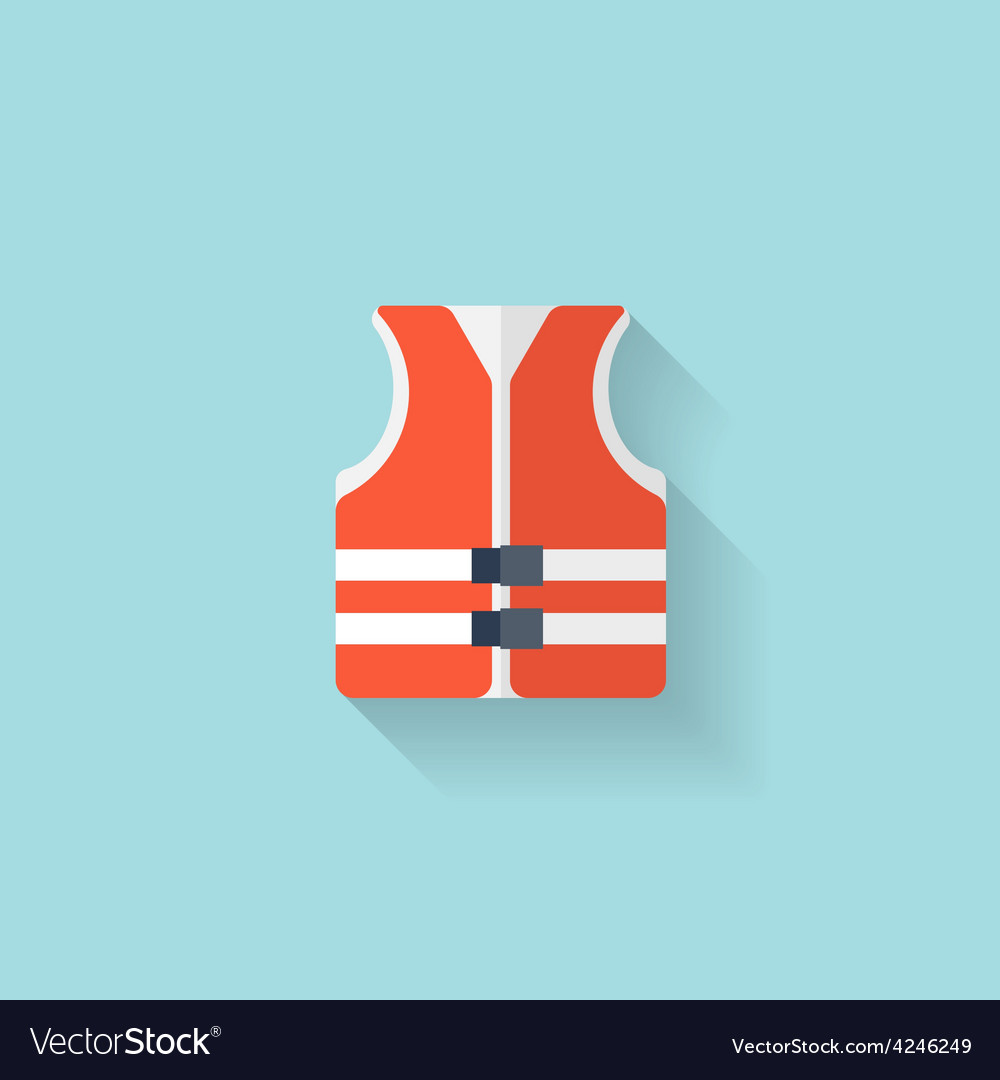 Flat lifejacket web iconbackground wit vector | Price: 1 Credit (USD $1)