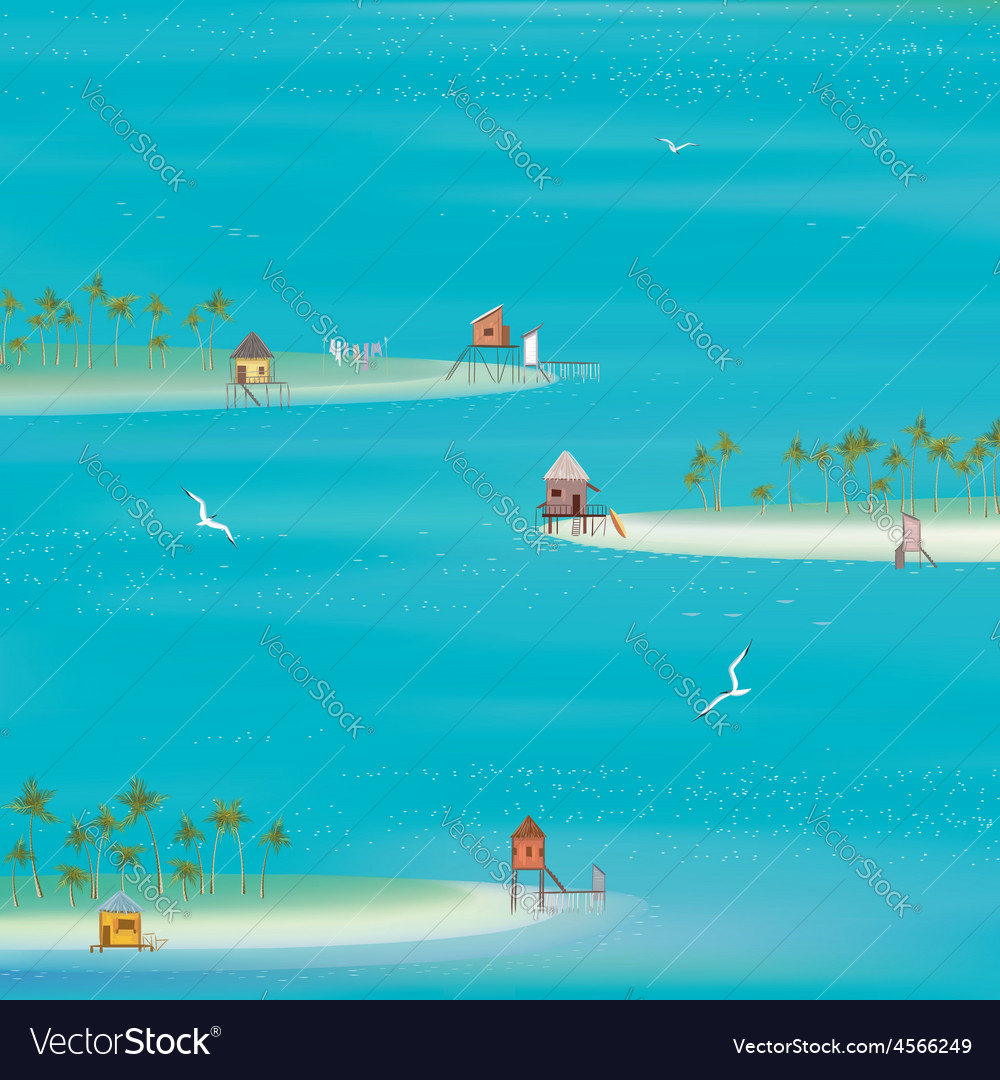 Islands in the ocean vector | Price: 1 Credit (USD $1)