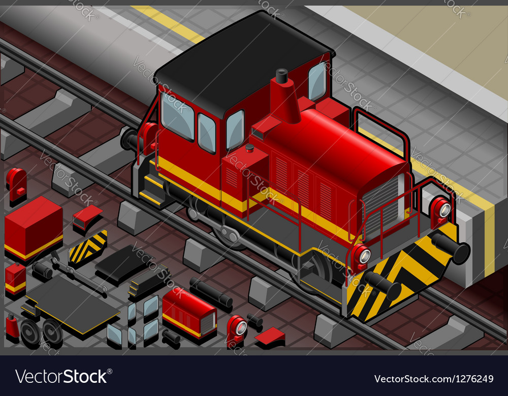 Isometric red train in front view vector | Price: 1 Credit (USD $1)