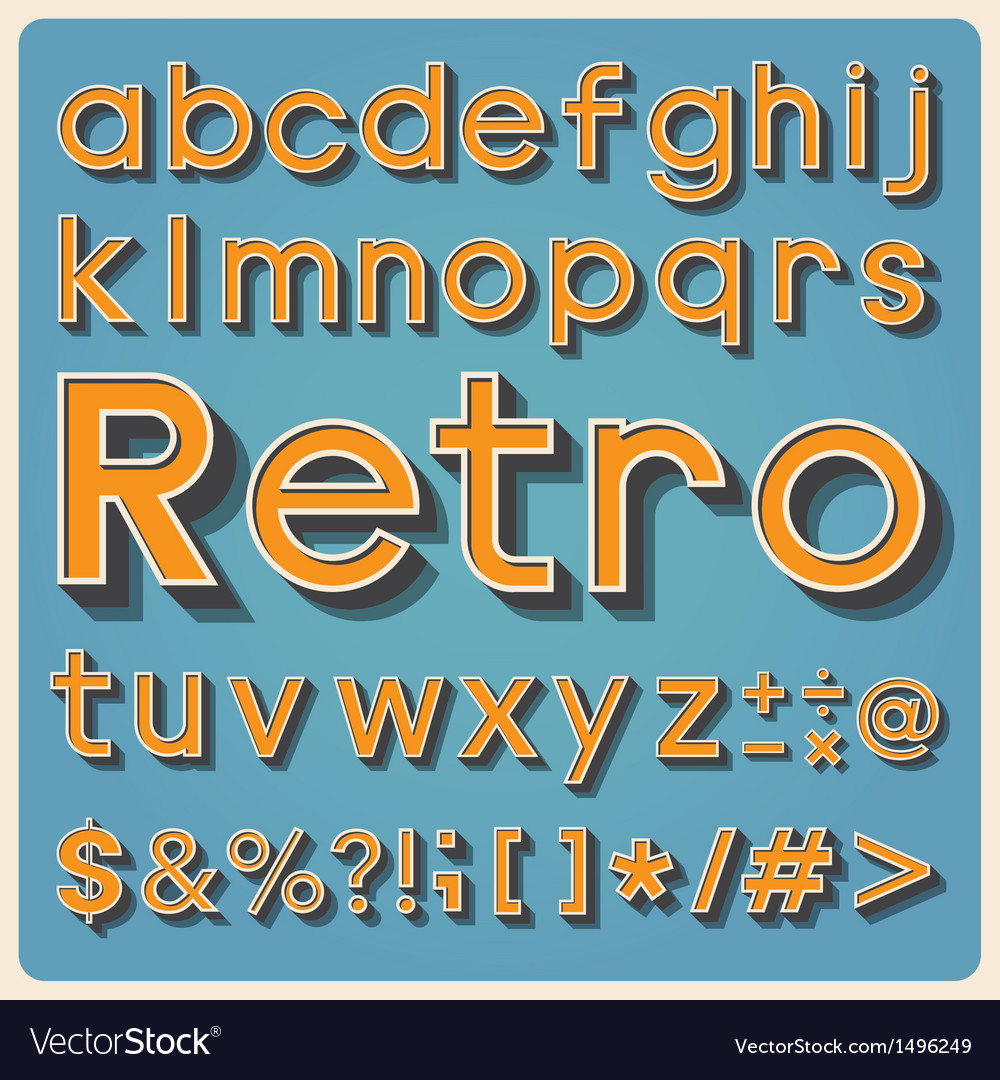 Retro type font vintage typography eps10 vector | Price: 1 Credit (USD $1)