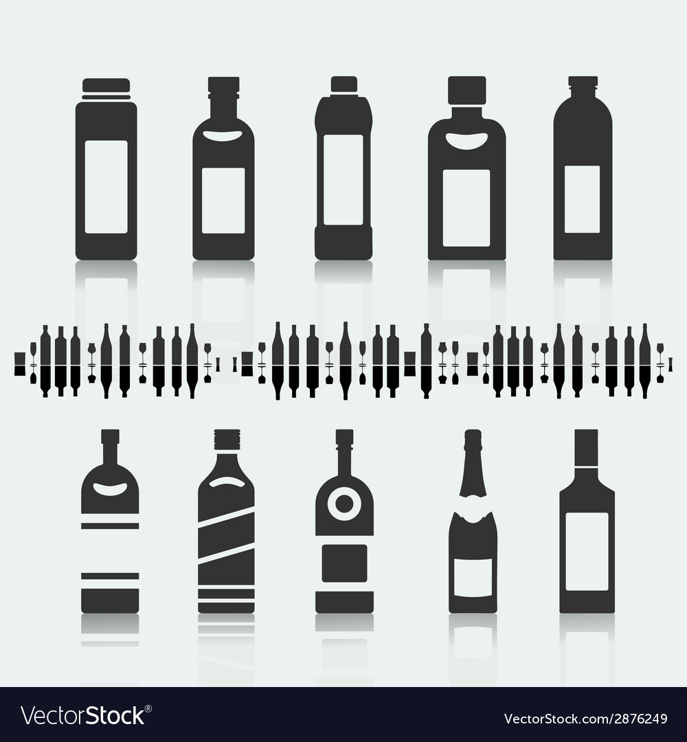 Set of symbols bottle alcohol vector | Price: 1 Credit (USD $1)