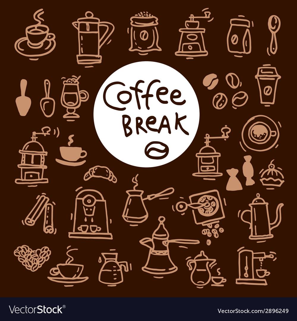 Sketch doodle coffee icon set hand drawn vector | Price: 1 Credit (USD $1)