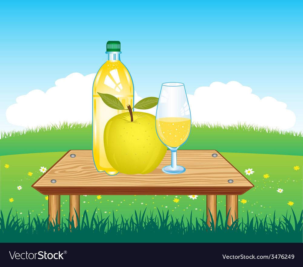 Table with drink on nature vector | Price: 1 Credit (USD $1)