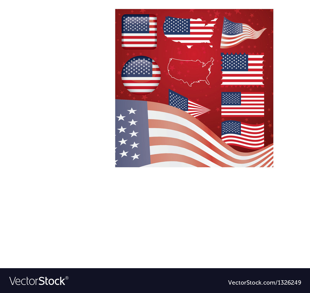 United states of america symbol set vector | Price: 1 Credit (USD $1)