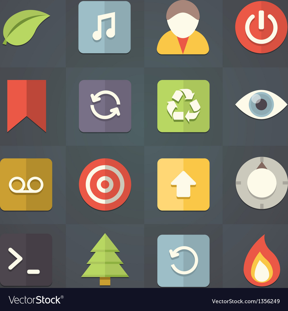 Universal flat icons for applications set 9 vector | Price: 1 Credit (USD $1)