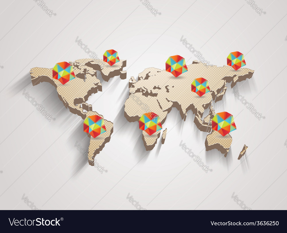 3d world map with modern elements of info graphics vector | Price: 1 Credit (USD $1)