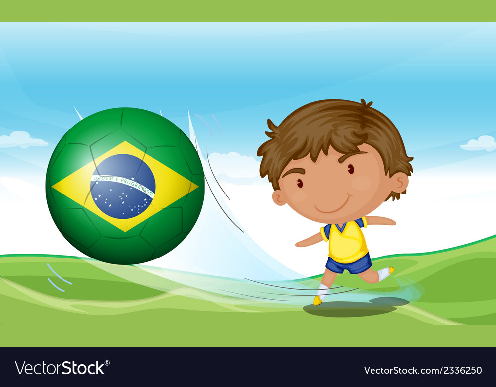 A boy beside the flag of brazil vector | Price: 1 Credit (USD $1)