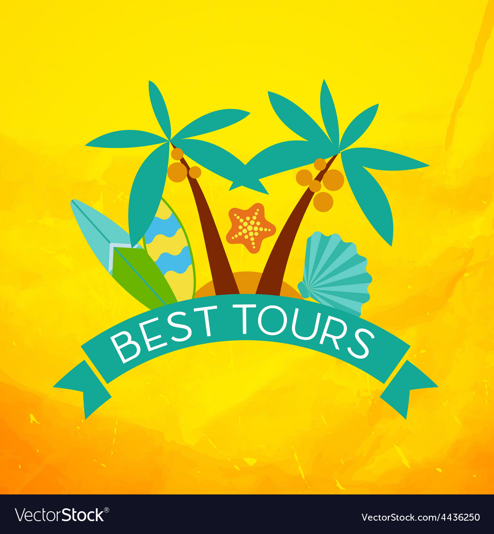 Banner with the inscription best tours palm trees vector | Price: 1 Credit (USD $1)