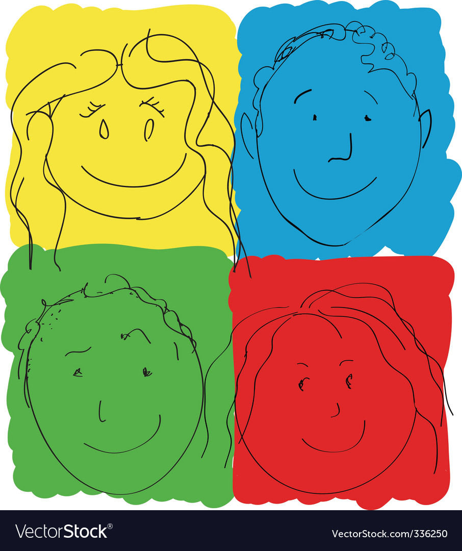 Children's faces primary colors vector | Price: 1 Credit (USD $1)