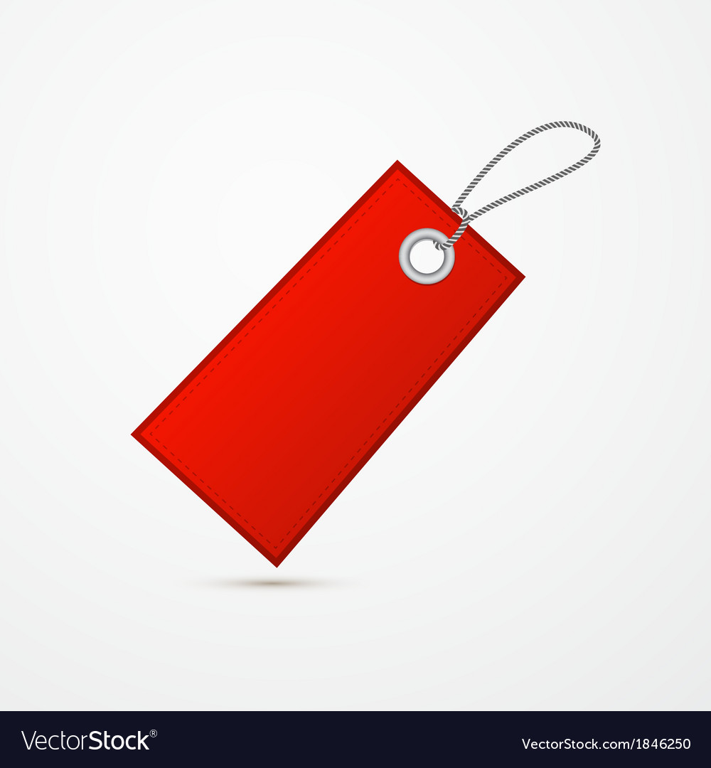 Empty red label tag with string vector | Price: 1 Credit (USD $1)