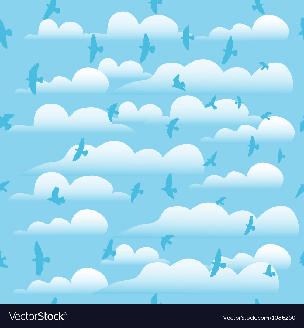 Flying birds on cloud blue sky seamless background vector | Price: 1 Credit (USD $1)