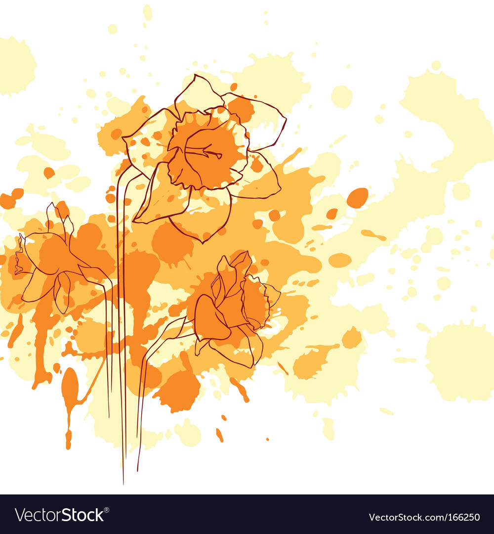 Narcissus grunge background vector   Price: 1 Credit (USD $1)