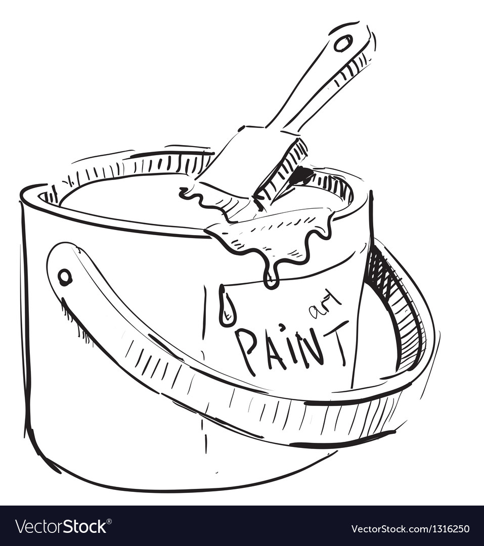 Paint bucket with brush vector | Price: 1 Credit (USD $1)