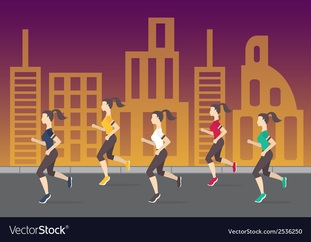 Running people silhouettes women running on the vector | Price: 1 Credit (USD $1)