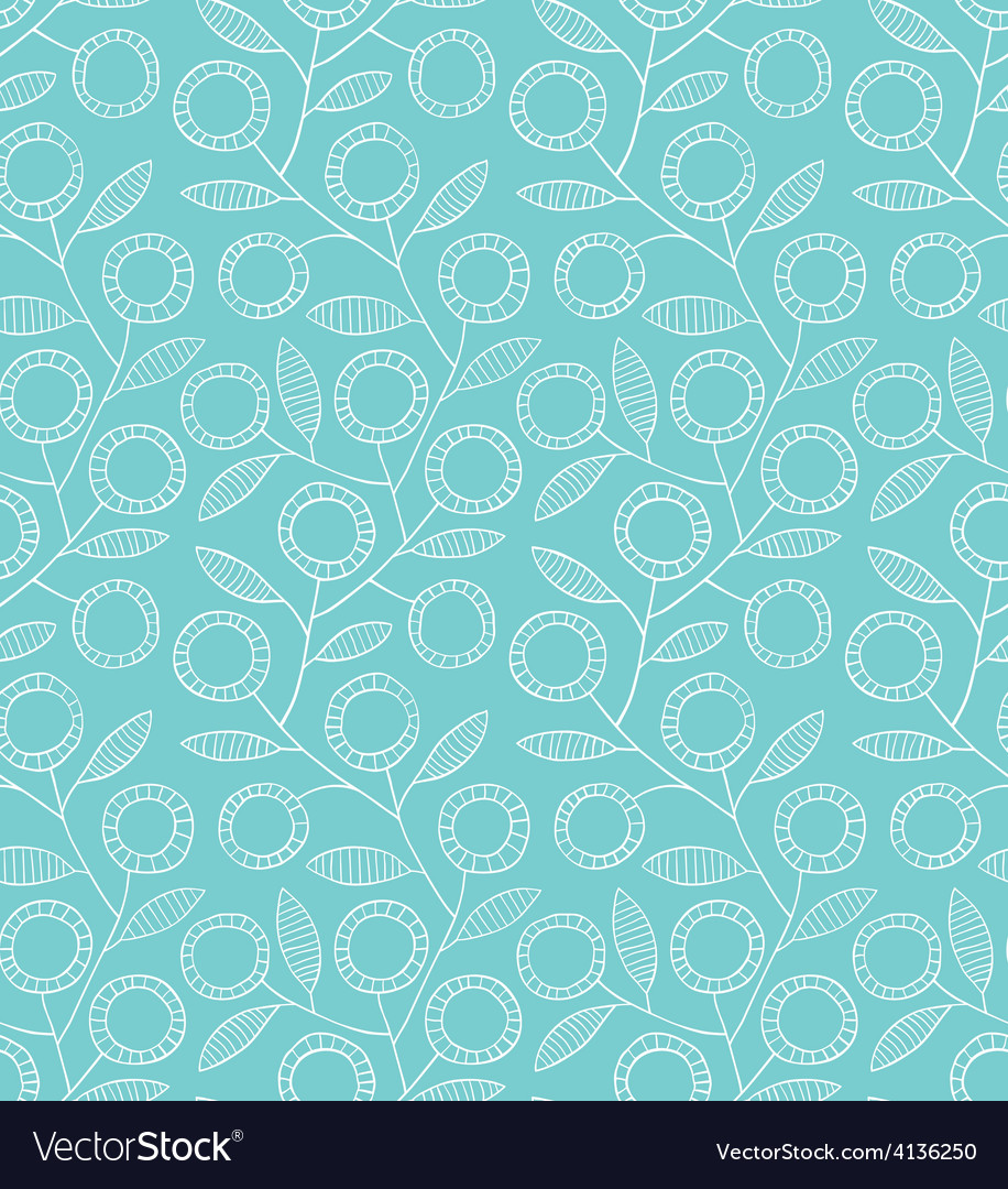 Seamless blue floral pattern vector | Price: 1 Credit (USD $1)