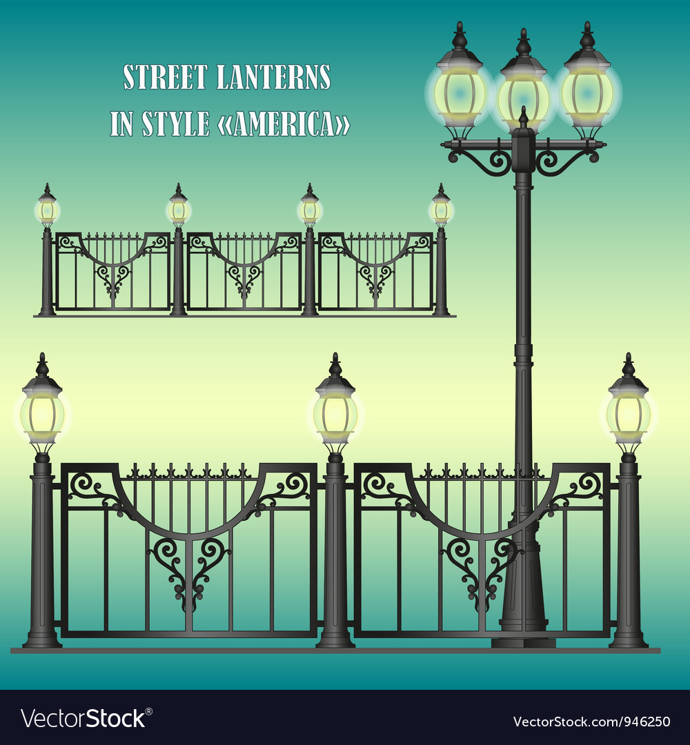 Shod street fence with lanterns vector | Price: 1 Credit (USD $1)