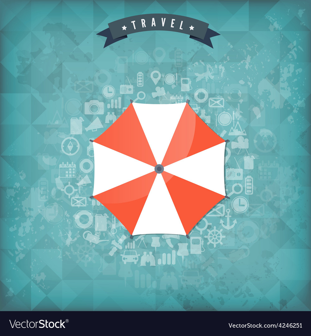 Beach umbrella web flat icon old vintage travel vector | Price: 1 Credit (USD $1)